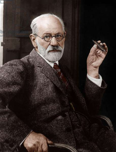 Sigmund Freud (1856-1939) Austrian neurologist and founder of psychoanalysis in 1926, colourized document