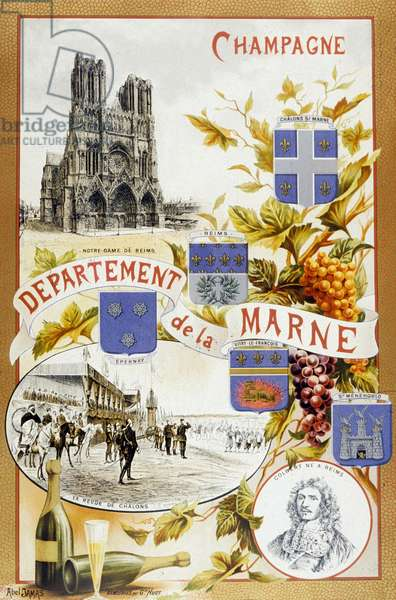 Ad for Champagne region, France, 19th century
