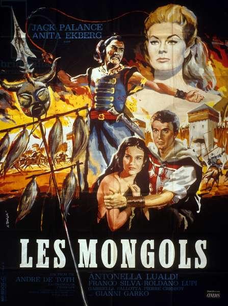 Affiche du film Les Mongols d'André De Toth et Leopoldo Savona avec Jack Palance, Anita Ekberg, 1961.