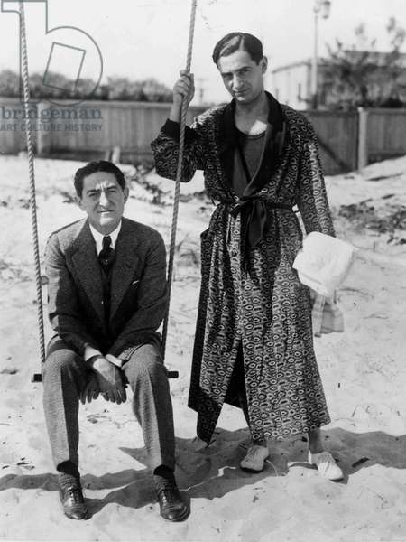 Irving Berlin (1888-1989) American composer and songwriter here in Palm Beach with his friend Sam Harris on January 20, 1927