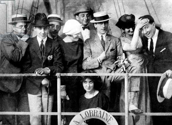 Darius Milhaud with l-r Raymond Radiguet, Marcel Moskowski, Jean Hugo, Jean Cocteau, Valentine and Paul Morand, kneeling Andree Varaubourg future Mrs Arthur Honneger in Paris 1921