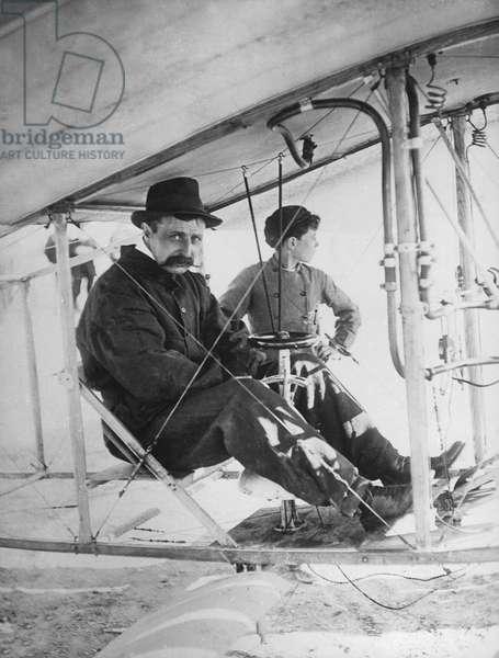 French pilot Louis Bleriot aboard his monoplane June 1909
