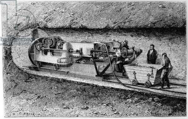 Tunnel-boring machine of Colonel Beaumont in the tunnel under Channel, 1883, engraving