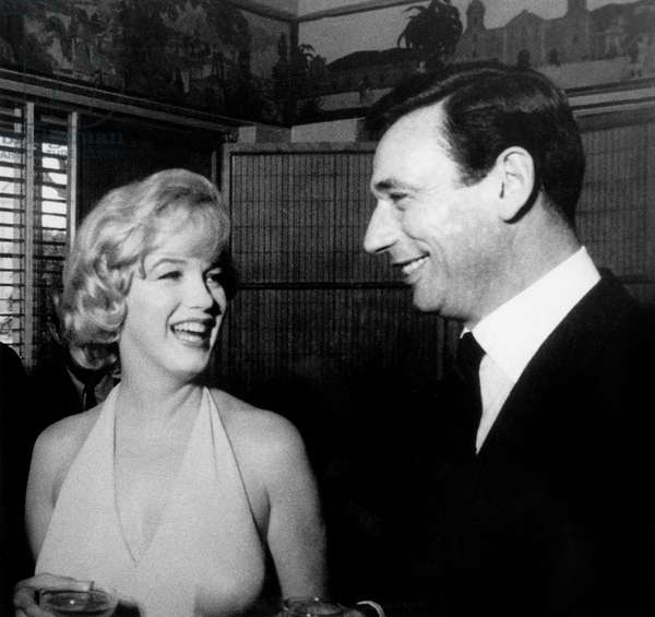 Marilyn Monroe and Yves Montand during press conference for film Let's make love January 15, 1960