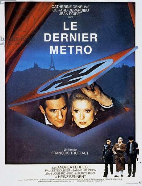 Affiche du film Le Dernier Metro de Francois Truffaut avec Gerard Depardieu et Catherine Deneuve 1980