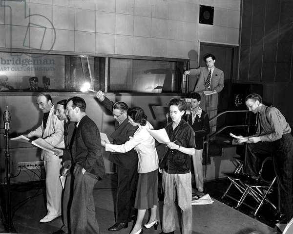 American Actor and director Orson Welles shown during a rehearsal of the new CBS radio presentation of First Person Singular in 1938