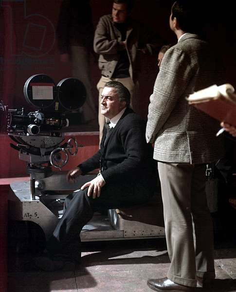 director Federico Fellini on set of film Satyricon in 1969