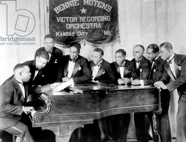 Bennie Moten (1894-1935) jazz pianist and his Victor Recording Orchestra in Kansas City c. 1926
