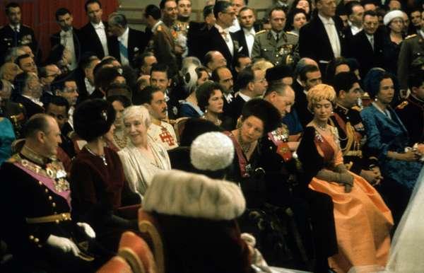 Wedding of King  Baudouin 1st and Dona Fabiola de Mora y de Aragon (thus becoming Queen Fabiola) in Brussels December 12, 1960, wearing orange dress : Queen Elizabeth II of England and her husband prince consort Philip Duke of Edinburgh