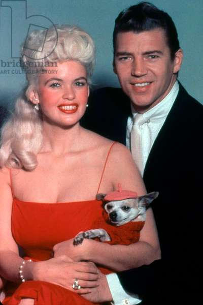 The American Actress Jayne Mansfield (1933-1967) and her husband (from 1958 to 1964) Mickey Hargitay c; 1958