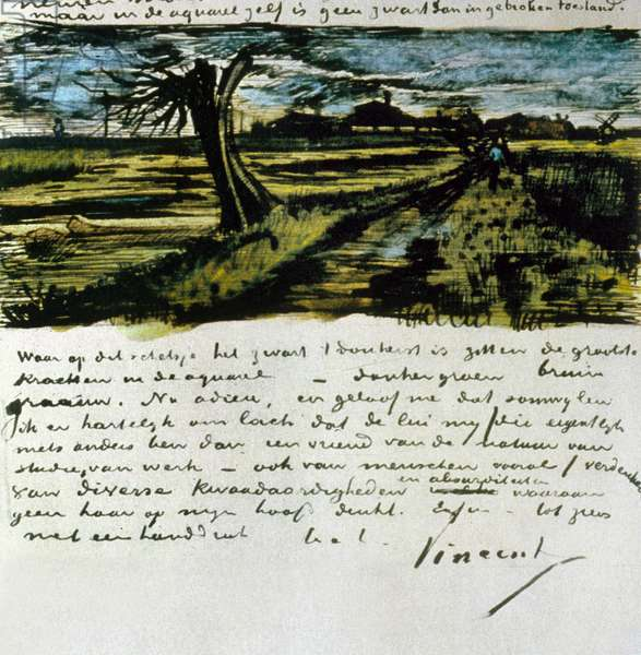 Letter 252 from Vincent van Gogh to Theo van Gogh: Pollard Willow, c.1st August 1882 (pen & ink and w/c on paper)