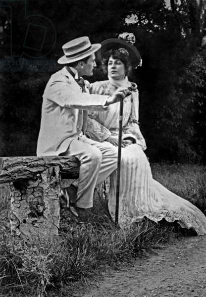 Edmond Rostand (1868-1918) poet and playwright with his wife Rosemonde Gerard (1871-1933) poet