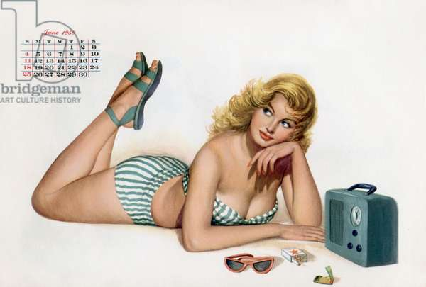 Pin up écoute radio, du calendrier Esquire Girl 1950 (juin)
