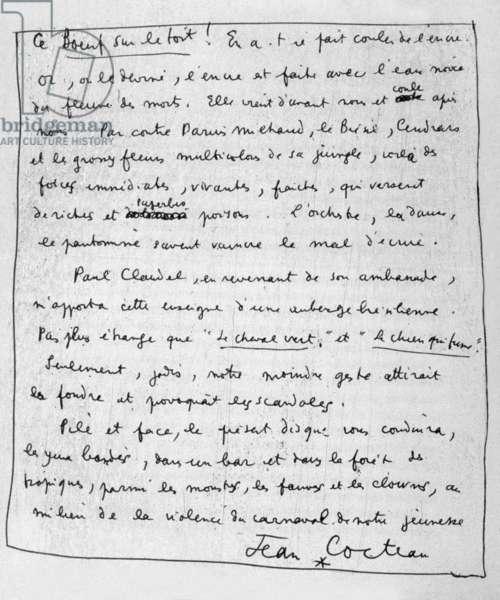 """Manuscript of """"Le boeuf sur le toit"""" by Jean Cocteau 1919"""