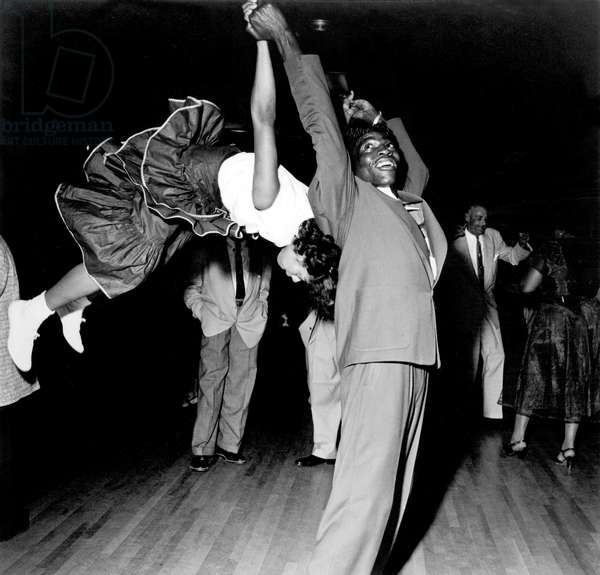 Couple dancing at Savoy Ballroom, Harlem, 1947 (b/w photo)