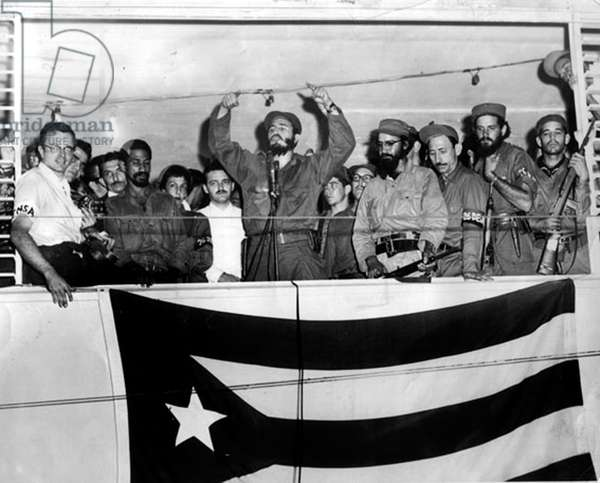Fidel Castro, revolutionnary and cuban state man, here dring his speech after his victory over FulgencioBatista in 1959