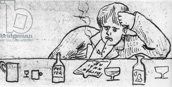 Arthur Rimbaud (1854-1891) French poet, drawing by Paul Verlaine, 1875
