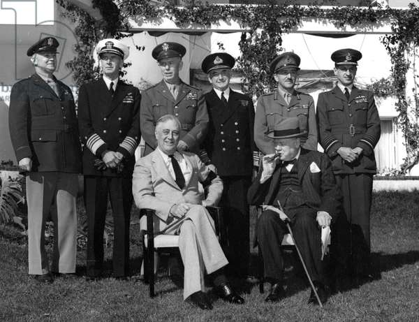 Franklin Roosevelt and Winston Churchill with their Chiefs of Staff, January 22, 1943.