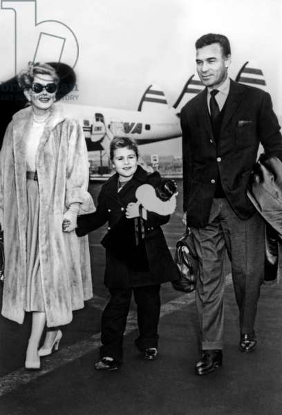 Zsa Zsa Gabor with her daughter Francesca Hilton and Porfirio Rubirosa, January 03, 1955