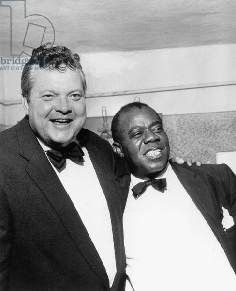 Actor and director Orson Welles and American jazzman Louis Armstrong April 26, 1959
