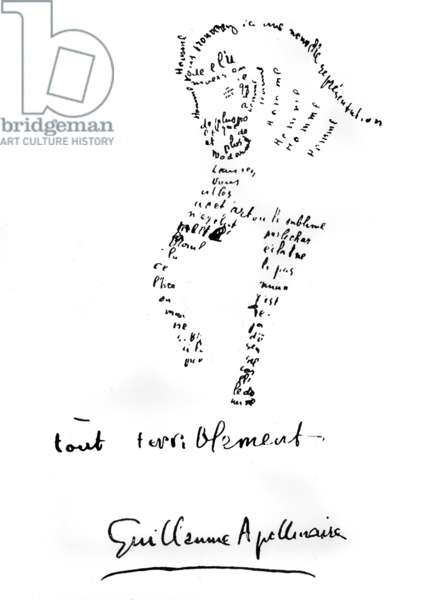 Calligram by Guillaume Apollinaire (1880-1918), 1917 : horse