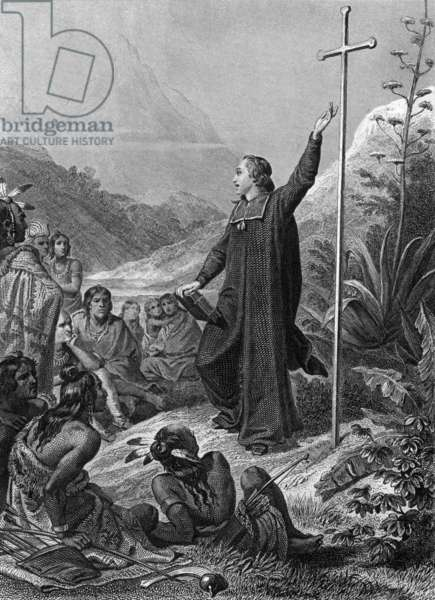 """Missions : a missionary and Indians, North America, engraving by Portier after Philippoteaux for 1852 edition of """"Genie du Christianisme"""" by Francois Rene de Chateaubriand"""