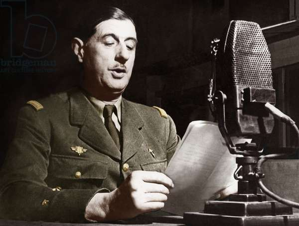 Speech of General Gaulle on the radio in London June 18, 1940 to call French people to resistance. colourized document