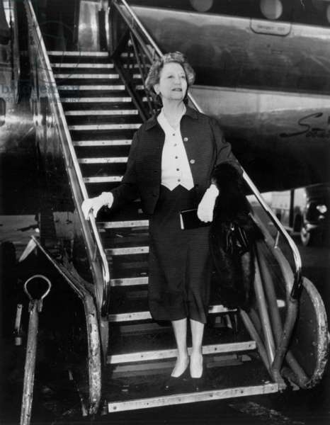 Elizabeth Arden (1891-1966, whose real name was Florence Nightingale Graham) American dress designer here c. mid 50's at Idlewild Airport