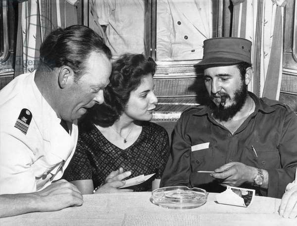 Officer Ernst Hankiewicz on MS Berlin in Havana harbour 1959 with Fidel Castro and Marita Lorenz who will become Castro's mistress