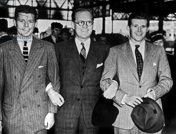 Joseph Kennedy Sr, American ambassador in London, with his sons John Fitzgerald and Joseph Jr aka Jo, London, 1938