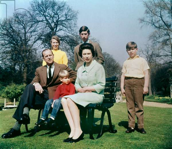 Queen Elizabeth II and her family at Windsor in Spring 1968. From left, Prince Philip, Duke of Edinburgh, Princess Anne, Prince Edward (Earl of Wessex), Prince Charles (Prince of Wales), the Queen and Prince Andrew (Duke of York)
