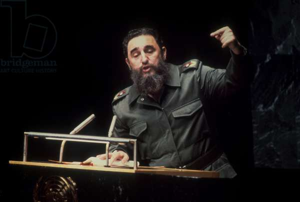 Fidel Castro during a speech at the UNO, 1979 (photo)