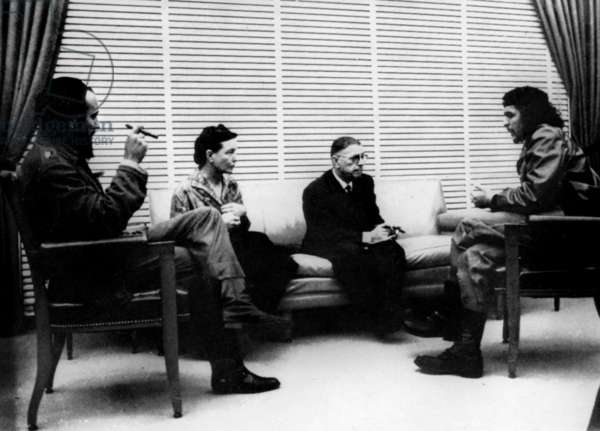 French writers Jean Paul Sartre and Simone de Beauvoir meeting Ernesto Che Guevara in Cuba in February - March 1960 (photo Alberto Korda)