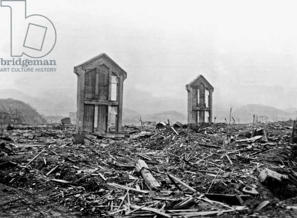 Ruins of Nagasaki after the explosion of atomic nuclear bomb August 9, 1945