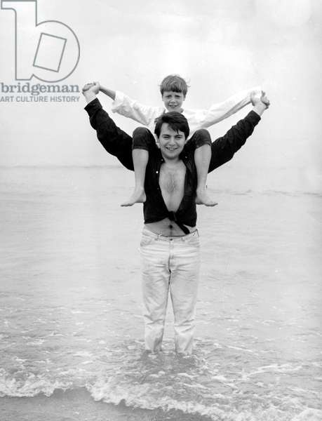Singer Monty (real name Eric Montry) with young-boy (12) who performs with him, summer 1964
