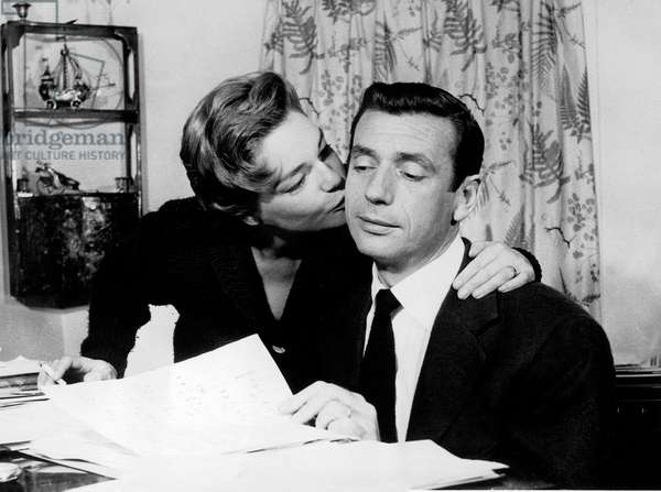 Simone Signoret and Yves Montand, November 1957 (b/w photo)