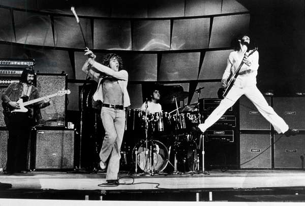 The Who on stage in 1969 John Entwhistle (bass & rythm guitar) Roger Daltry (Singer) Keith Moon (drums) Pete Townshend (lead guitar)