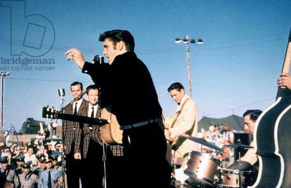 Elvis Presley on stage in Tupelo September 26, 1956