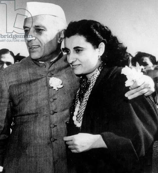 Nehru and Indira Gandhi, 1962 (b/w photo)