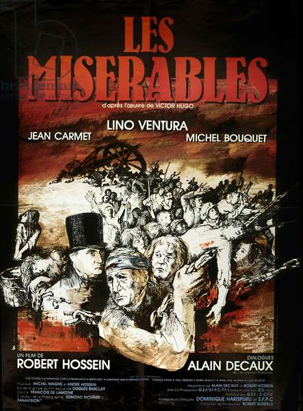 Affiche du film Les Miserables de RobertHossein avec Michel Bouquet Jean Carmet et Lino Ventura 1982 (d'apres VictorHugo)