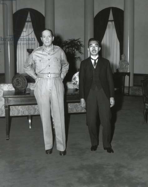 American General Douglas MacArthur meeting japanese emperor Hiro Hito in his headquarter ( (Dai-Ichi Life Insurance Company) in Tokyo September 27, 1945 after surrender of Japan, photo by Lt. Gaetano Faillace