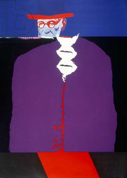 Sigmund Freud (1856-1939) Austrian psychoanalyst (screen print based on photograph) by Jean de Gaspary 1977