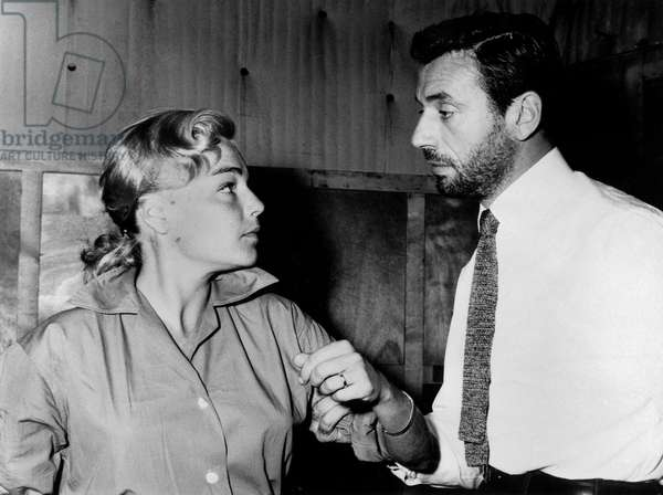 """Simone Signoret and Yves Montand during rehearsal of film """"The Crucible"""" June 1956"""