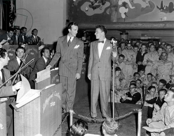 Frank Sinatra singing with Harry James at Hollywood Canteen , California August 16, 1943 entertaining the American troops during a World War II U.S.O tour