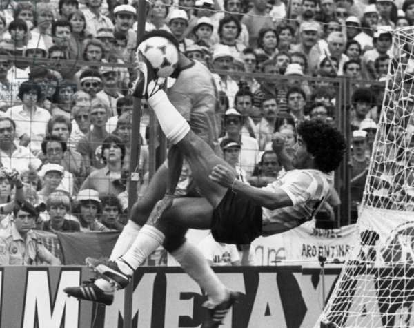 """Foot world soccer cup in July 2, 1982 in """"Nou Camp"""" stadium in Barcelona (Spain) : match Brazil Argentina (here Diego Maradona)"""