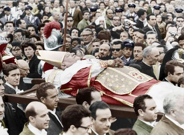 Funerals of pope John XXIII Ange Joseph Roncalli, pope from 1958 to 1963 colourized document