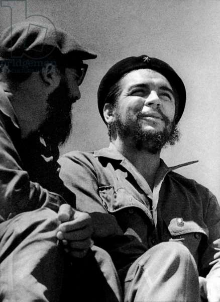 Ernesto Che Guevara, cuban revolutionary leader, on May 1st, 1963 in Havana with Fidel Castro (photo Roberto Salas)
