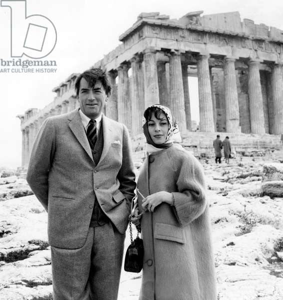 Gregory Peck and his wife Veronique Passani visiting the Acropolis in Athens, 11/03/60