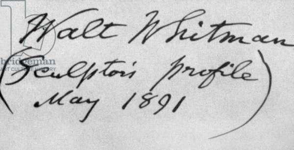 Handwritting of Walt Whitman (1819-1892) American poet 1891
