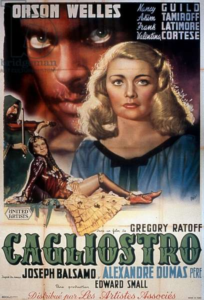 Affiche du film Black Magic de GregoryRatoff avec Orson Welles 1949 (d'après AlexandreDumas)